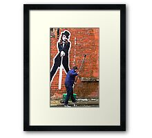 Top Hat and Pail. Manchester, England. Framed Print