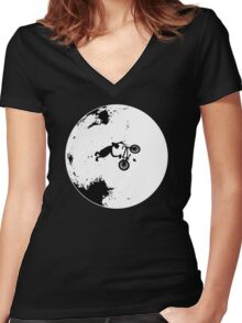 ET Extraterrestrial Moon BMX Trick Women's Fitted V-Neck T-Shirt