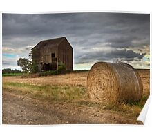 Barn and Hay Bale .... in kent countryside. Poster