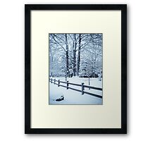 blue fence and trees Framed Print