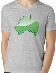 Australia Map simple in green Mens V-Neck T-Shirt
