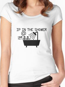 IP in the shower at home Women's Fitted Scoop T-Shirt