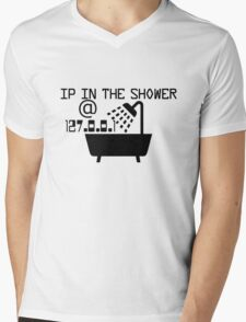 IP in the shower at home Mens V-Neck T-Shirt