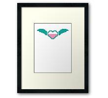 Digital gamer heart with flying wings Framed Print