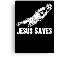 Jesus Saves Football Soccor Goalie Canvas Print