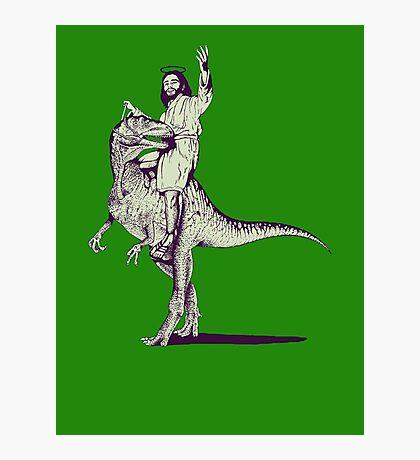 Jesus Riding Dinosaur Photographic Print