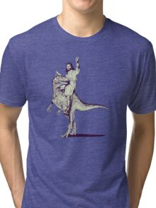 Jesus Riding Dinosaur Tri-blend T-Shirt