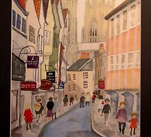 York - street scene with Minster by Kardi Somerfield