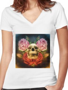 Skull And Rose's  Women's Fitted V-Neck T-Shirt