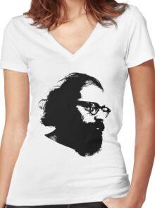 Poet Allen Ginsberg Stencil Women's Fitted V-Neck T-Shirt