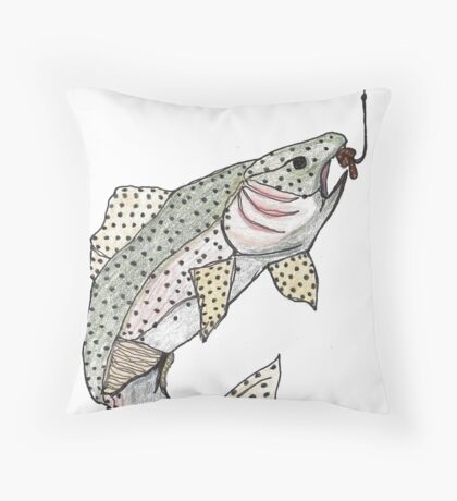 trout deja-vu Throw Pillow