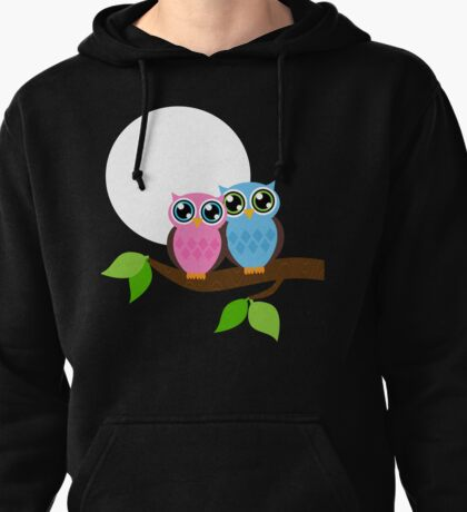 Owls Under the Moonlight  Pullover Hoodie