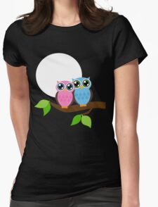 Owls Under the Moonlight  Womens Fitted T-Shirt