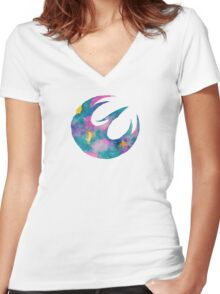 Watercolor Sabine (white) Women's Fitted V-Neck T-Shirt