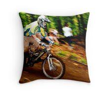 Downhill Racing at Sunday River Throw Pillow