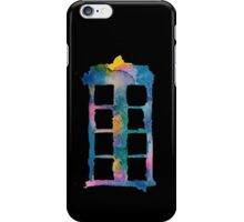 Watercolor Tardis (black)  iPhone Case/Skin