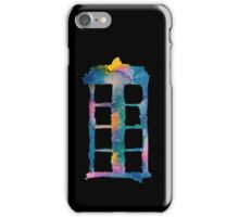 Watercolor Tardis (black)  iPhone Case/Skin