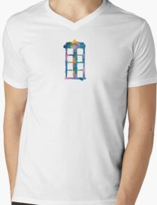 Watercolor Tardis (white) Mens V-Neck T-Shirt