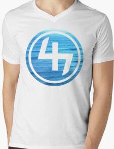 47 OCEAN BLUE WAVES CIRCLE Mens V-Neck T-Shirt