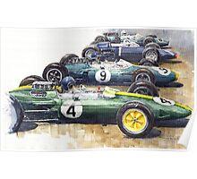 Start British GP 1963 - Lotus  Brabham  BRM Poster