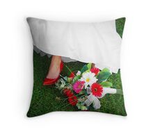She wore red shoes Throw Pillow