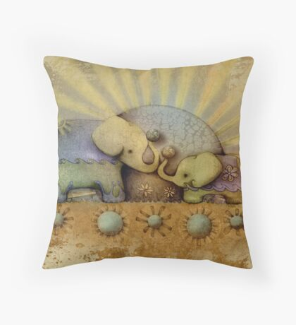 elephant blessing Throw Pillow