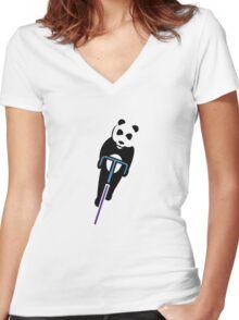 Panda Fixie Women's Fitted V-Neck T-Shirt