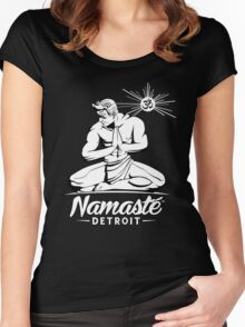 Namaste Detroit Black and White Women's Fitted Scoop T-Shirt