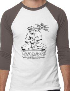 Namaste Detroit Black and White Men's Baseball ¾ T-Shirt