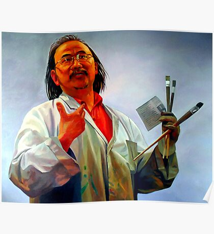 Portrait painting of David Chen the artist Poster