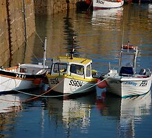 Boats at Rest, Mousehole Harbour by JanBenjafield