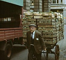 """A Heavy Load"", Covent Garden Market, London, 1973. by David A. L. Davies"