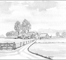DUTCH LANDSCAPE - WASHED PEN DRAWING by RainbowArt