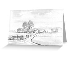 DUTCH LANDSCAPE - WASHED PEN DRAWING Greeting Card