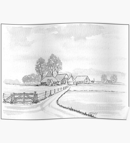 DUTCH LANDSCAPE - WASHED PEN DRAWING Poster