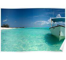 Anchored boat, Long Island, Bahamas Poster