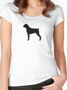 Boxer Dog Silhouette(s) Women's Fitted Scoop T-Shirt