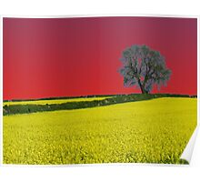 Oak Tree Landscape ( Red ) Poster