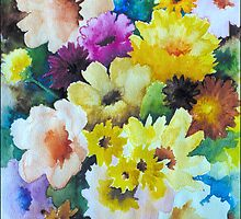 CHRYSANTHEMUMS AND ASTERS - AQUAREL by RainbowArt