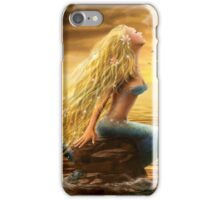 Beautiful Fantasy Sea Mermaid with Ship at Sunset background iPhone Case/Skin