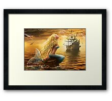 Beautiful Fantasy Sea Mermaid with Ship at Sunset background Framed Print
