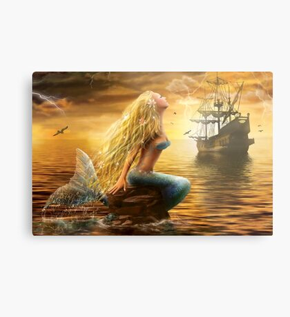 Beautiful Fantasy Sea Mermaid with Ship at Sunset background Metal Print
