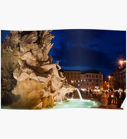 Fontana dei Quattro Fiumi - Piazza Navona, Rome Poster