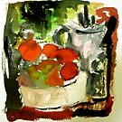 tomatoes and pot by agnès trachet