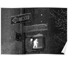 NYC Snowy Street Sign Poster