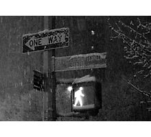 NYC Snowy Street Sign Photographic Print