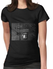 NYC Snowy Street Sign Womens Fitted T-Shirt