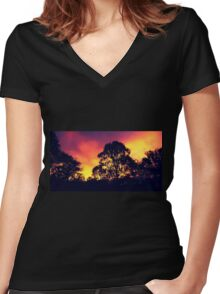 one sunset, purple. Women's Fitted V-Neck T-Shirt