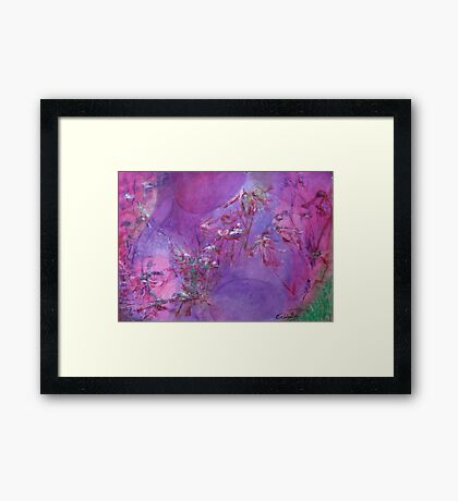abstract female figure with flowers Framed Print