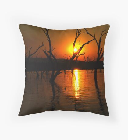 Lily Lagoon sunset Throw Pillow